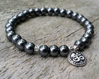 Hematite yoga bracelet wrist mala power beads chakra bracelet om bracelet yoga jewelry mala bracelet meditation beads