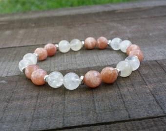 Sunstone moonstone yogo mala stretch chakra bracelet wrist mala chakra bracelet energy bracelet power beads meditation yoga bracelet