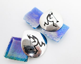 Large 60s Kokopelli Hopi Spirit Silver Overlay Earrings, w Post Earring Backs, Large, Hallmarked, Southwestern USA.