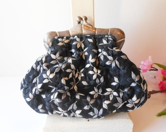 Vintage Evening Bag, Inge Christopher Purse, Glamorous Evening Bag, Grey and Black, Glamorous Accessory, Designer Purse EB-0398