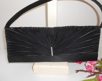 Black Evening Bag with Rhinestone Trim Vintage Black Clutch Handbag EB-0434