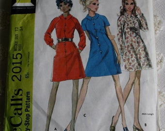 """McCalls 2015 size 12 pattern for 1960s shirt dress 34"""" bust"""