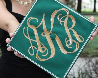 "Large 8"" Monogram Decal - DIY Graduation Cap Monogram"