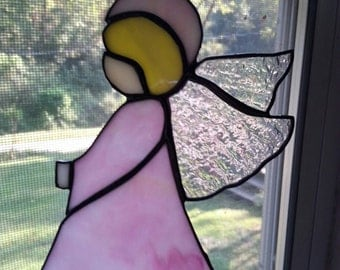 Stained glass Pink Angel