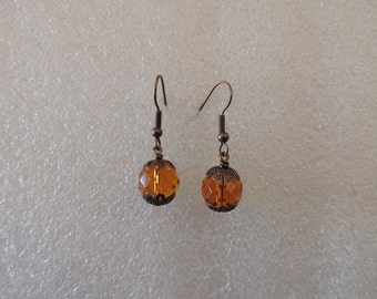 amber coloured glass vintage style earrings