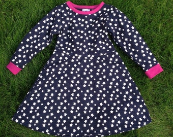 Navy and white stars skater dress with pink trim- size 18-36 months