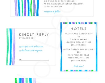 Water Color Wedding Invitation Set (Save the Date, Invite, rsvp card, & hotel card)
