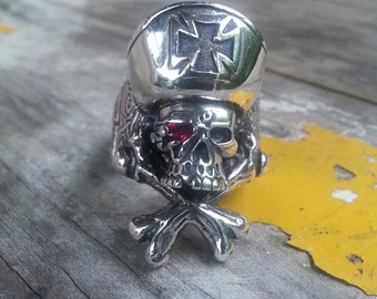 Large Skull and crossbone pirate sterling silver ring steampunk  gothic punk