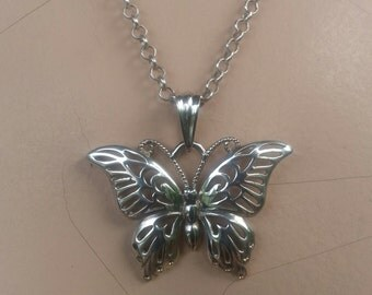 Large filegree butterfly sterling silver pendant boho fantasy art nouveau victorian