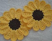 Sunflower Potholder, Sunflower Decor, Crocheted Sunflower, Black-Eyed Susan Hotpad, Kitchen Sunflower, Sunflower Dishcloth, Crocheted Decor