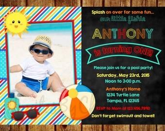 Pool Party Chalkboard Photo Birthday Invitation for Boys- Digital File - DIY Printable 1st, 2nd, 3rd, 4th, 5th, 6th