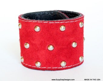 Red Suede Leather Studded Cuff - Red Suede Leather Cuff with triple row small studs - Made In USA