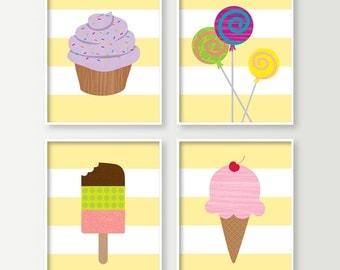 Nursery Wall Decor - Set of 4 Kids Room Art Prints - Playroom Decor - Sweets & Treats Food Signs - Ice Cream Lollipop Cupcake Wall Art