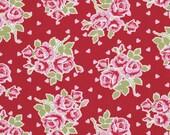 Fabric Valentine Roses Roses & Hearts in Red Tanya Whelan 1 yard
