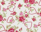 Fabric Valentine Roses True Love in Red Tanya Whelan 30 inches