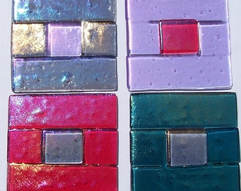 Stained Glass Window Corners, Window Treatment, Colorful Fused Glass Squares, Home Decor, Unique Windows,Suncatchers, Stained Glass Window