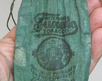 Patterson's Tuxedo Tobacco Cloth Pouch / Green Advertising Bag / Tobacciana Collectable / Tobacco Drawstring Pouch / Vintage Smoking