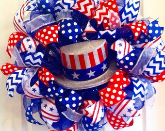 Fourth of July Deco Mesh Wreath/July Fourth Mesh Wreath/Memorial Day Mesh Wreath/ USA Deco Mesh Wreath/ Red White Blue Mesh Wreath