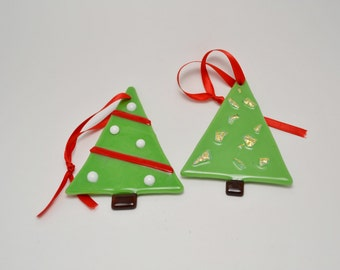 Two Fused Glass Christmas Tree ornaments.