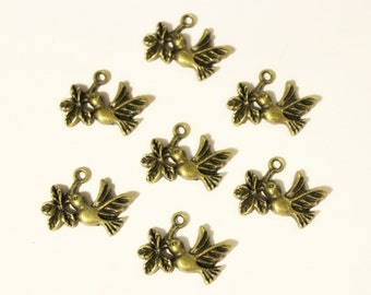 Bronze Plated Bird Branch Charms 20 QTY