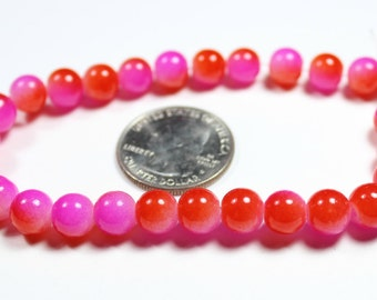 Pink and Red Jade Glass Beads 8mm - 20 QTY
