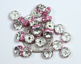 Shiny Silver Pink Rhinestones Spacer Beads QTY 30
