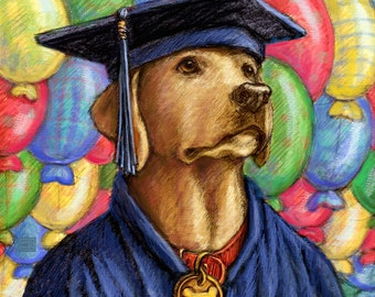 Graduation Labrador Retriever in a Cap and Gown Yellow Lab Print