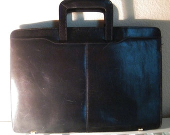 Black Leather Attache Briefcase Bond Street