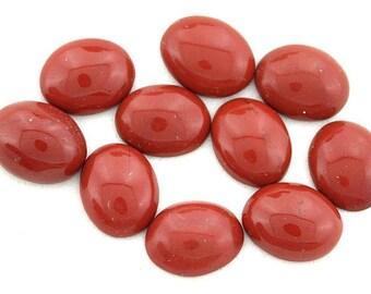 FOUR 10mm x 8mm 10x8 Oval Red Jasper Cab Cabochon Gem Stone Gemstone CM13