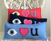 I Love You Pillow (Eye Heart U!) in Light Blue Wool Felt with Blue/Brown/Green Eye Applique with Long Lashes!