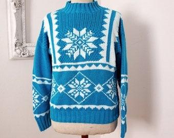 Vintage Obermeyer Turquoise and White Cotton Ski Sweater Women Sz Small