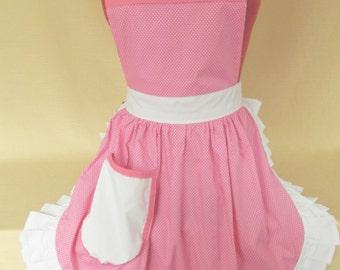 Retro Vintage 50s Style Full Apron / Pinny - Pink & White Polka Dot with White Trim