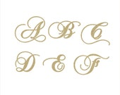 Unfinished Wooden Letters in the Chopin Script Font Style