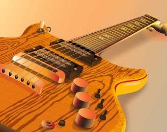 Giclee Archival Print - Six String Electric Guitar Illustration