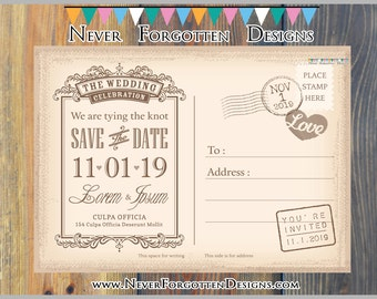 25  Vintage SAVE THE DATE Postcards  Wedding Bridal Invitations on Cardstock