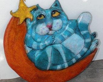 Ceramic Cat Wall Decor - Wishing on a Star