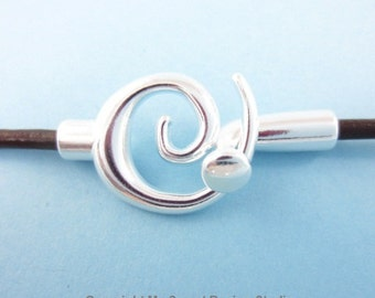 3sets 3mm-Hole Glue-In Swirl Clasp Silver Plated (F1813)