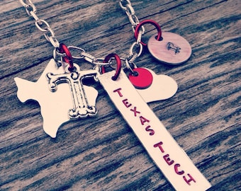 Texas Tech Red Raider Necklace - Hand Stamped - Wreck Em Tech Masked Rider - Lubbock - Equestrian