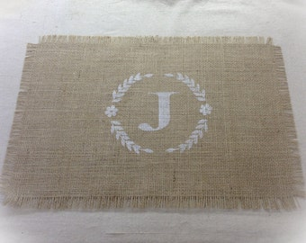 READY TO SHIP Burlap Placemats - set of 8 Only 1 Sets Available with an J