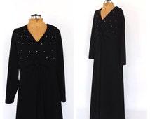 PLUS SIZE Large Vintage 1960s 1970s Diva Gown Black Diamond 60s Maxi Dress Mod Hostess Dress Motown Disco Diva Prom Dress Halloween Costume