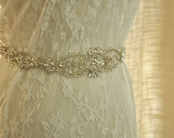 Crystal and Rhinestone Beaded Applique Bridal Belt Wedding Sash Applique