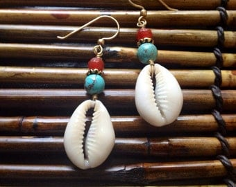 Afrocentric Jewelry - Carnelian & Turquoise Cowrie Shell Earrings