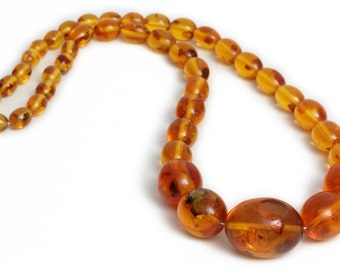 Antique Huge Art Deco Bakelite Amber Necklace Resin round Beads Butterscoth Egg Yolk Color 1920s