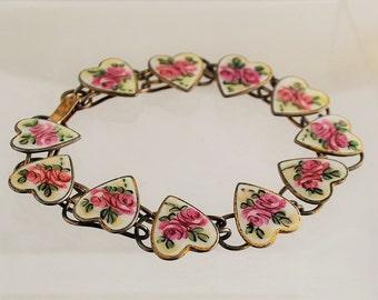 Vintage Enamel Hearts and Roses Bliss Bros. Bracelet - Sterling Silver