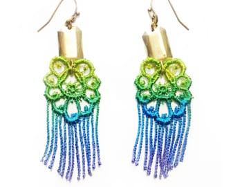 SALE- RHIANNON Fringe Lace Earrings in Aquarium
