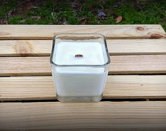 Unscented Wood Wick Soy Candle - 12oz - Cube Candle - Square Wood Wick Soy Candle - Wood Wick Candle - Unscented Candle