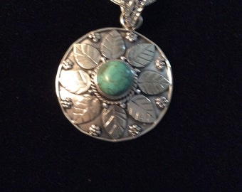 Genuine Turquoise Gemstone Pendant Necklace In Sterling Silver 925