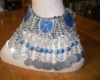 vintage ethnic ornate TRIBAL LAPIS LAZULI large necklace/choker with coins