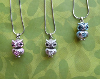 Owl  crystal enamal necklace pendant