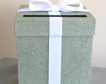 """Green Agate and White Wedding Card Box with Bow 9"""" w x 9"""" h-Choose your colors"""